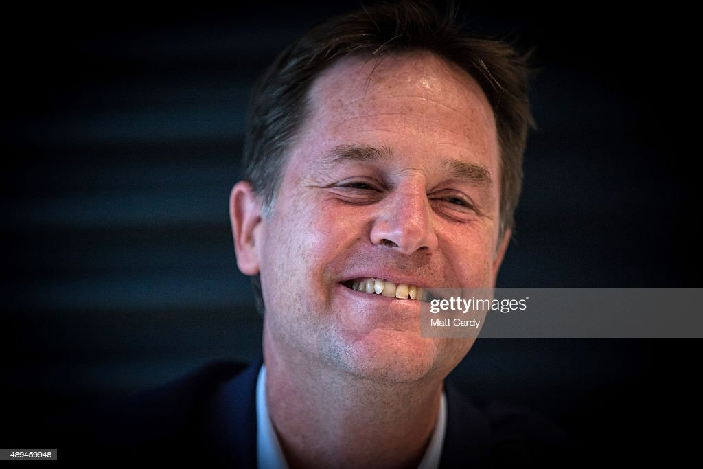 Former leader Nick Clegg speaks at a fringe event on the third day of the Liberal Democrats annual conference on September 21, 2015 in Bournemouth, England. The Liberal Democrats are currently holding their annual conference using the hashtag #LibDemfightback in Bournemouth. The conference is the first since the party lost all but eight of its MPs in May's UK general election, however after gaining 20,000 new members since May the party is expecting a record attendance at the event being held at the Bournemouth International Centre.