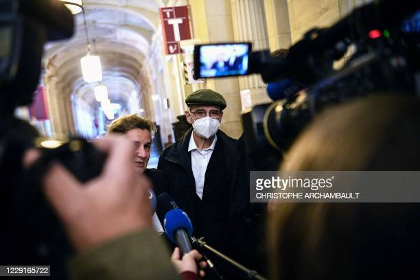Former leader of Basque separatist group ETA, Josu Ternera , whose real name is Jose Antonio Urrutikoetxea Bengoetxea, looks on as he lawyer Laure...