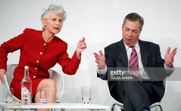 Former leader of Britain's UKIP party Nigel Farage reaacts as he speaks with ItalianSwedish MEP Anna Maria Corazza Bildt during a panel discussion at...