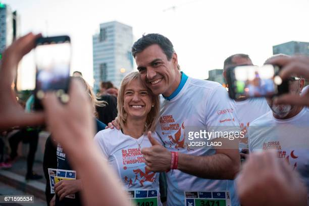 Former leader of Spanish Socialist Party and candidate for the Secretary General of the party Pedro Sanchez poses with other participant prior to...