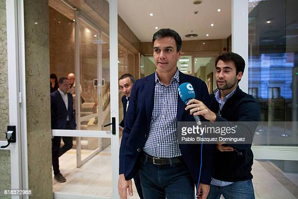 Former leader of Spanish Socialist Party Pedro Sanchez arrives for the start of the investiture debate at the Spanish Parliament on October 26 2016...