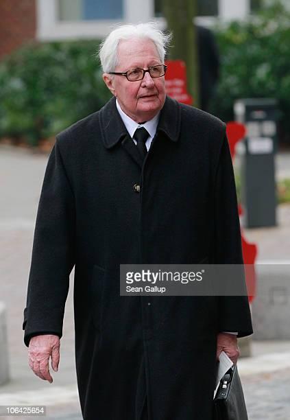 Former leader of the German Social Democrats HansJochen Vogel arrives for the memorial service for Loki Schmidt wife of former German Chancellor...
