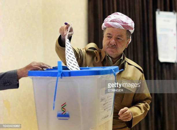 Former leader of the Iraqi Kurdish Regional Government Masoud Barzani casts his ballot for the parliamentary election at a polling station in Arbil...