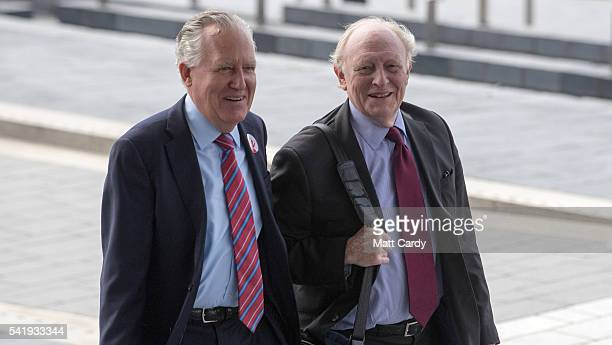 Former Leader of the Labour Party Neil Kinnock and Peter Hain attend a Remain call to action event outside the Senned National Assembly for Wales on...