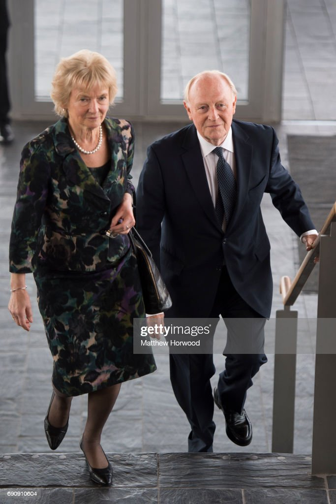 Former leader of the Labour party Neil Kinnock arrives at the funeral of former First Minister of Wales Rhodri Morgan at the Senedd in Cardiff Bay on...