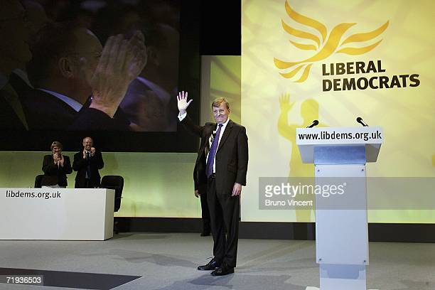 Former leader of the Liberal Democrats Charles Kennedy waves to delegates on September 19 2006 in Brighton England This was his first speech to the...
