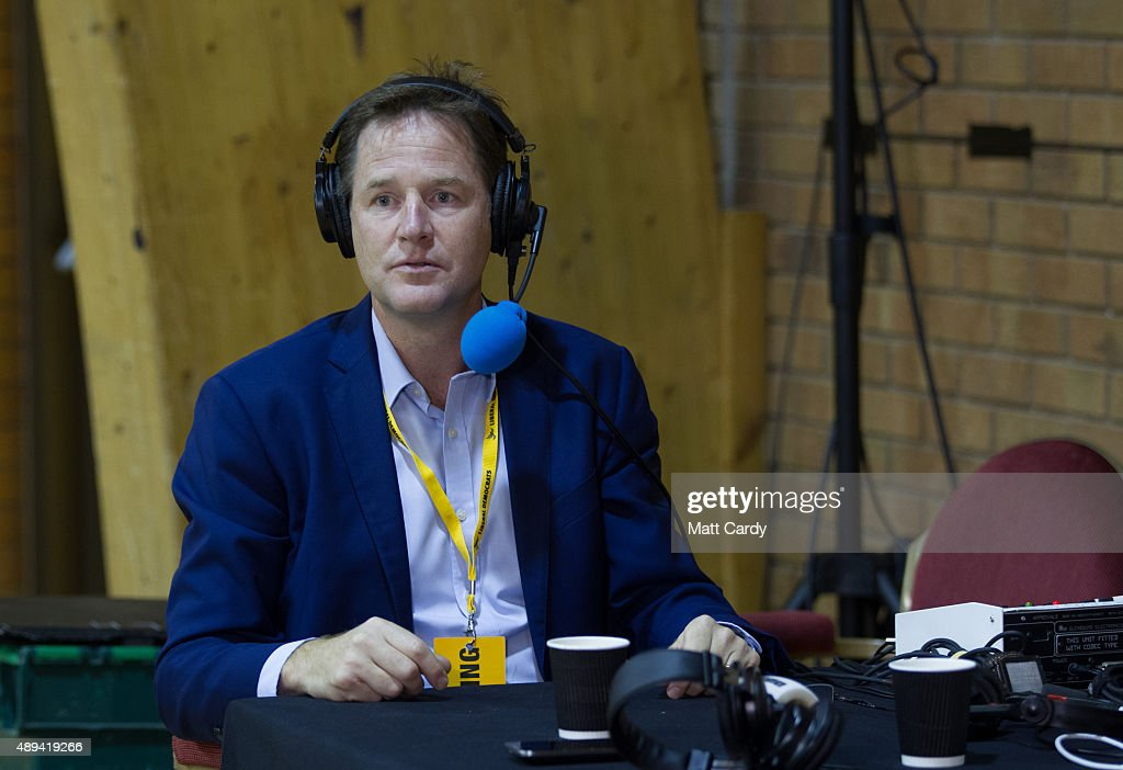Former leader of the Liberal Democrats Nick Clegg does a radio interview on the third day of the Liberal Democrats annual conference on September 20, 2015 in Bournemouth, England. The Liberal Democrats are currently holding their annual conference using the hashtag #LibDemfightback in Bournemouth. The conference is the first since the party lost all but eight of its MPs in May's UK general election, however after gaining 20,000 new members since May the party is expecting a record attendance at the event being held at the Bournemouth International Centre.