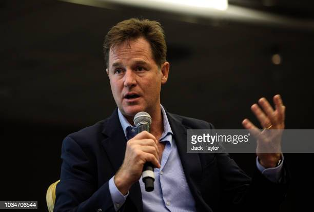 Former Leader of the Liberal Democrats Nick Clegg speaks at a Liberal Democrat Party Conference fringe event at the Hilton Hotel on September 17 2018...