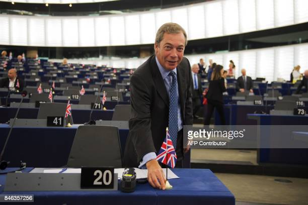 Former leader of the UK Independence Party Nigel Farage is pictured prior to the European Commission President's State of the Union speech at the...