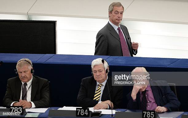 Former leader of the United Kingdom Independence Party Nigel Farage arrives for a voting session at the European Parliament as French farright...