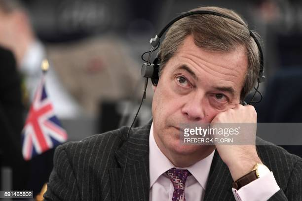 Former leader of UK Independence Party Nigel Farage attends a debate on the progress of the Brexit talks at the European Parliament in Strasbourg...