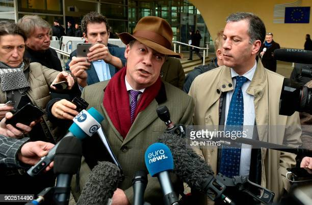 Former leader of UK Independence Party Nigel Farage speaks to journalists after a meeting with the European Union chief Brexit negotiator at the...