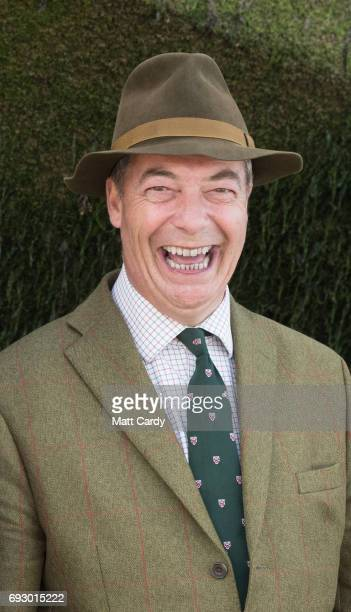 Former leader of UKIP, Nigel Farage joins veterans on the beach at Arromanches as they take part in commemorations to mark the 73rd anniversary of...