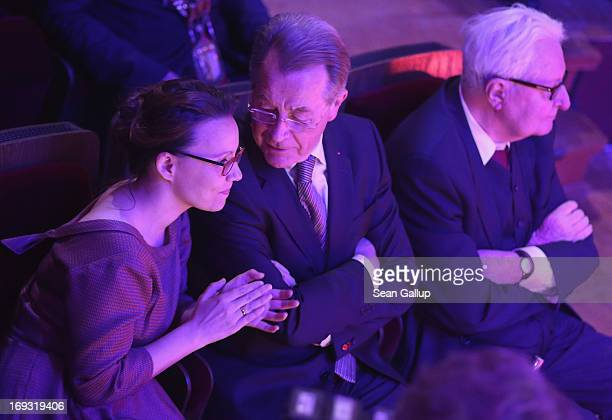 Former leaders of the of the German Social Democrats Franz Muentefering and HansJochen Vogel as well as Muentefering's wife Michelle attend the 150th...