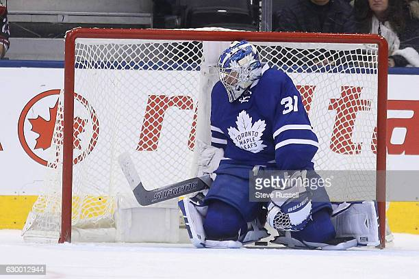 TORONTO ON DECEMBER 15 Former Leaf Peter Holland blasts the shot through Frederik Andersen's legs for the winner as the Toronto Maple Leafs lose to...