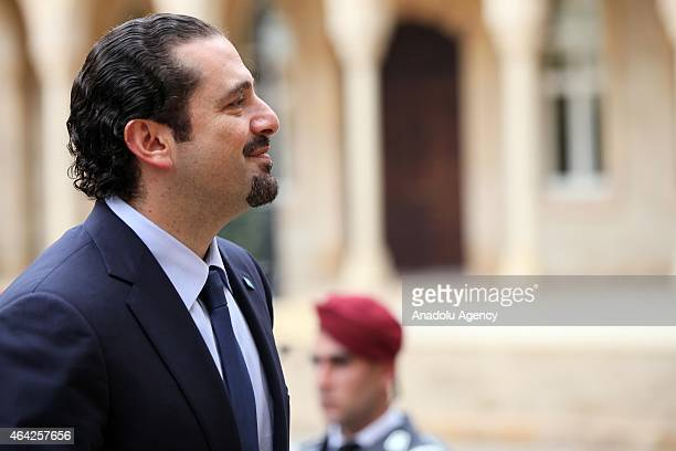 Former Lebanese Prime Minister and leader of Future Movement Saad Hariri arrives Governmental Palace to meet with Lebanese PM Tammam Salam in Beirut...