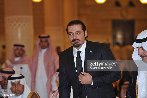 Former Lebanese prime minister Saad alHariri attends the funeral of late Saudi Crown Prince Sultan bin Abdul Aziz at Imam Turki bin Abdullah mosque...