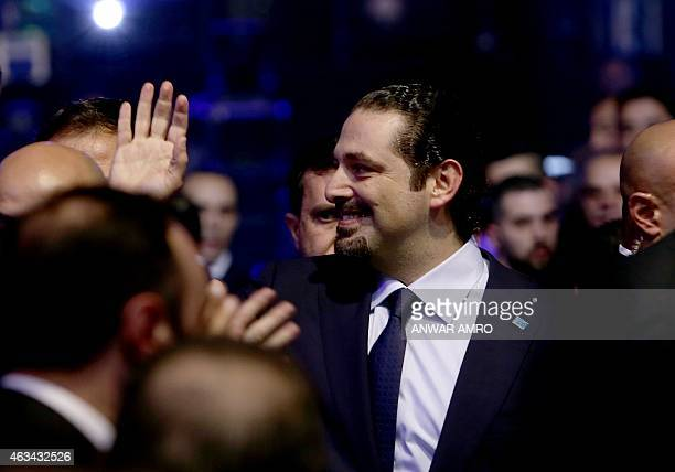 Former Lebanese prime minister Saad Hariri arrives to deliver a speech during a gathering to mark the tenth anniversary of the assassination of his...