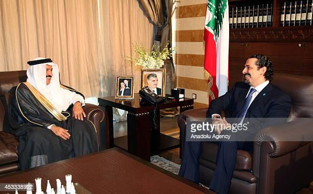 Former Lebanese Prime Minister Saad Hariri meets with Saudi Ambassador to Lebanon Ali Saeed Asiri in Beirut Lebanon on August 8 2014 Hariri returned...