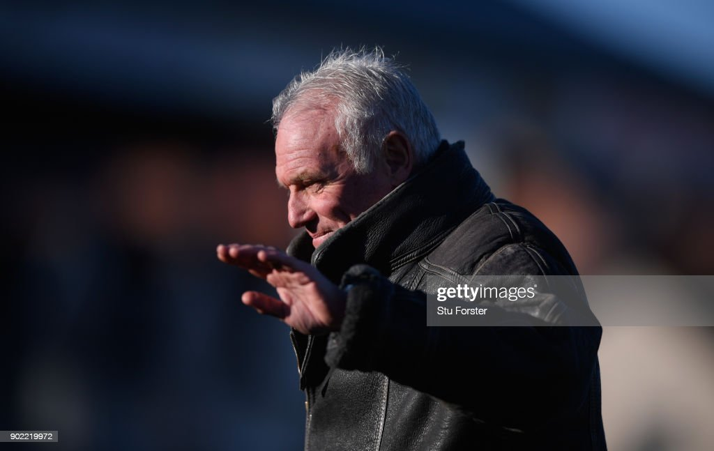 Former Leeds player Eddie Gray waves to the fans during The Emirates FA Cup Third Round match between Newport County and Leeds United at Rodney Parade on January 7, 2018 in Newport, Wales.
