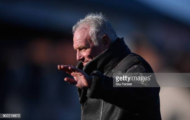 Former Leeds player Eddie Gray waves to the fans during The Emirates FA Cup Third Round match between Newport County and Leeds United at Rodney...
