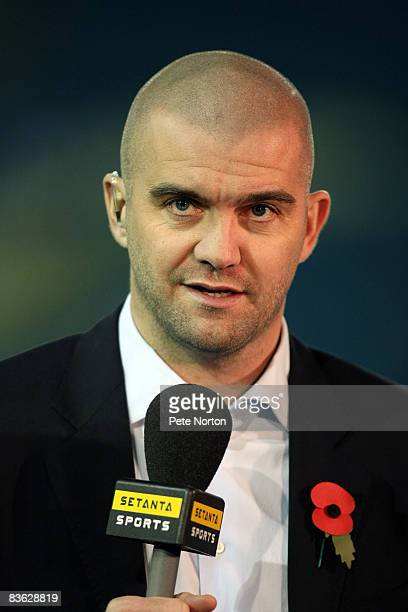Former Leeds United player Dominic Matteo working as a pundit for Setanta Sports during the FA Cup sponsored by eon First Round Match between Leeds...