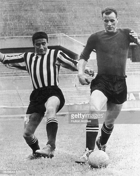 Former Leeds United player John Charles scores a winning goal for Juventus during a match against Genoa in Turin 25th September 1957 Juventus won 32
