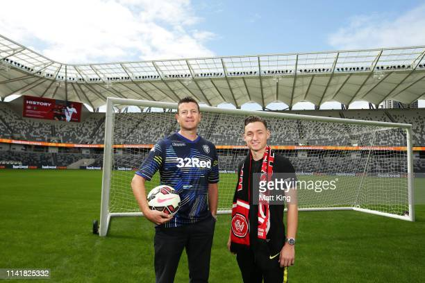 Former Leeds United player Michael Bridges and Jordan O'Doherty of the Wanderers pose during a Western Sydney Wanderers ALeague media opportunity at...
