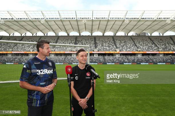 Former Leeds United player Michael Bridges and Jordan O'Doherty of the Wanderers speak to the media during a Western Sydney Wanderers ALeague media...