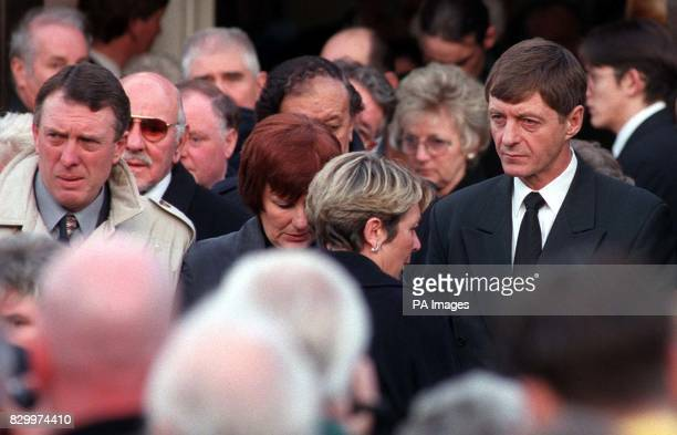 Former Leeds United players Mick Jones and Allan Clarke at St Mary's Church New Edlington for the funeral service of exLeeds United and Scotland...