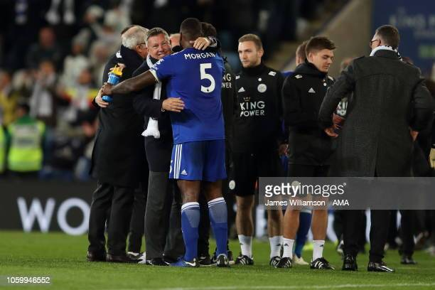 Former Leicester City manager Craig Shakespeare with Wes Morgan of Leicester City during the Premier League match between Leicester City and Burnley...