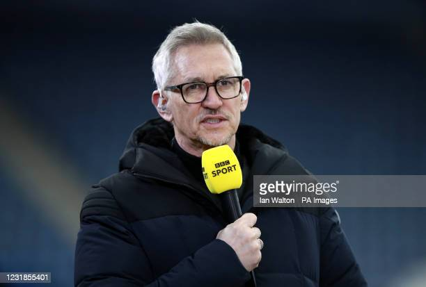 Former Leicester City player and BBC pundit Gary Lineker with the FA Cup Trophy final match at the King Power Stadium, Leicester. Picture date:...