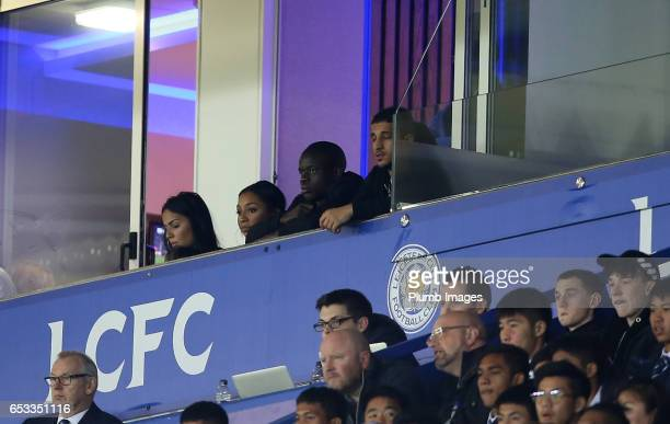 Former Leicester City player N'Golo Kante of Chelsea watches his old team during the UEFA Champions League Round of 16 match between Leicester City...