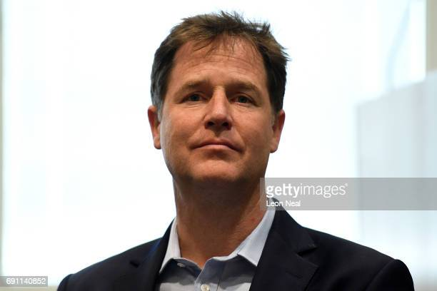 Former LibDem leader Nick Clegg visits Kingston Hospital on June 1 2017 in Kingston upon Thames England Britain goes to the polls to vote in a...