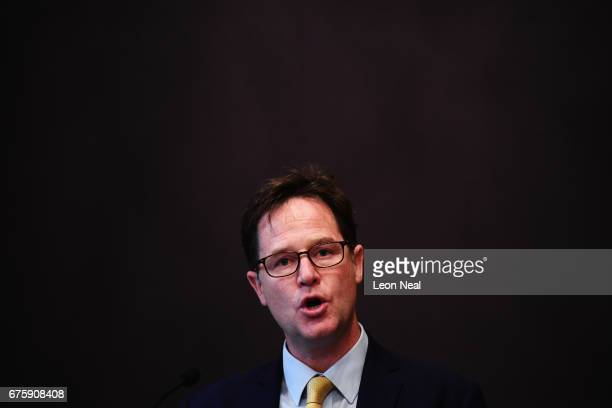Former Liberal Democrat leader Nick Clegg delivers a speech at the National Liberal Club on May 2 2017 in London England During his speech Mr Clegg...