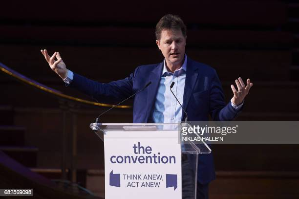 Former Liberal Democrat leader Nick Clegg delivers a speech at The Convention conference on Brexit and the Political Crash in Westminster central...