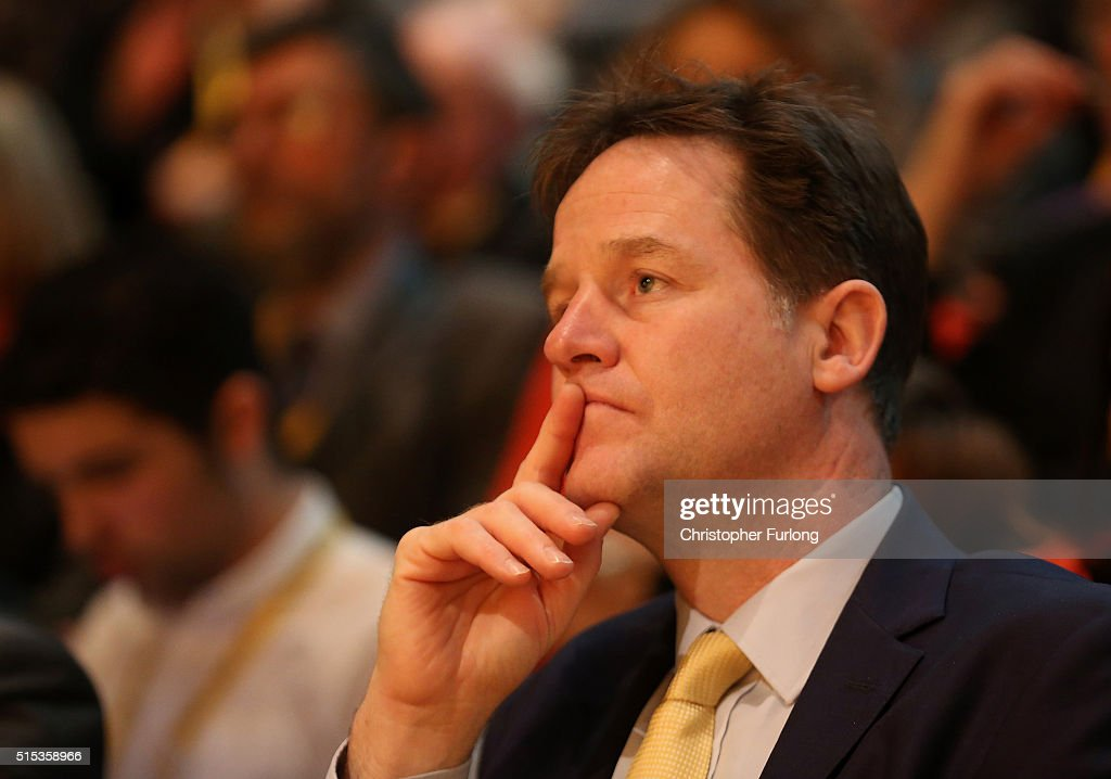 Former Liberal Democrat leader Nick Clegg listens to a speaker during the Liberal Democrats spring conference at York Barbican on March 13, 2016 in York, England. On the last day of the Lib-dem Spring conference Farron claimed the UK is at an economic crossroads and accused Chancellor George Osborne of planning 'unnecessary ' cuts during next weeks budget.