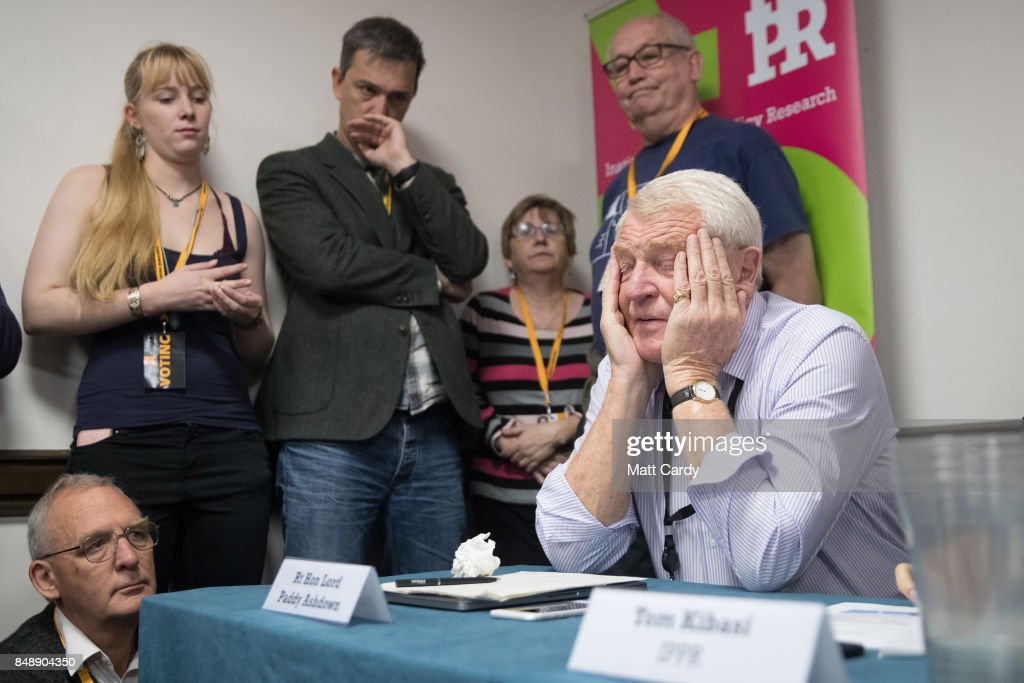 Former Liberal Democrat leader Paddy Ashdown speaks at a fringe meeting at the Bournemouth International Centre on September 18, 2017 in Bournemouth, England. The pro-remain party, which is campaigning for a second referendum on the outcome of EU talks, is holding its annual conference at the English seaside town.