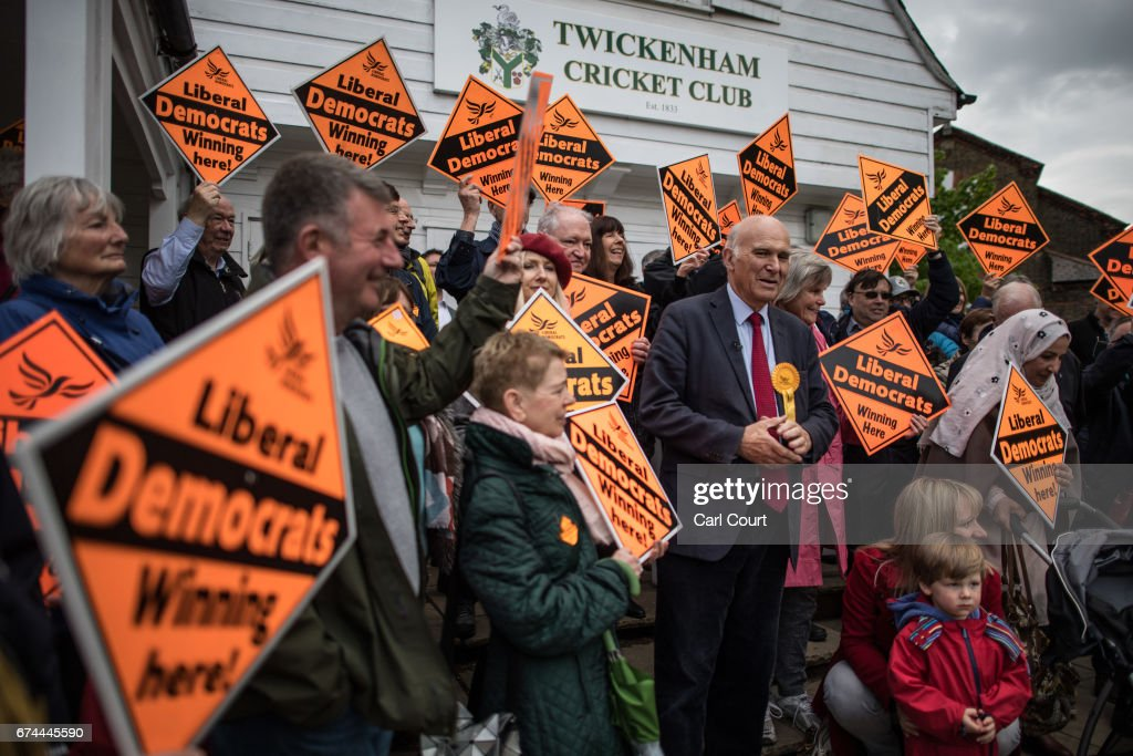 Former Liberal Democrat Secretary of State for Business, Innovation and Skills, Vince Cable, speaks at the launch of his campaign to return to parliament where he also warned of the risk of a second 'economic storm' caused by a hard Brexit, on April 28, 2017 in Twickenham, England. Britain is to go to the polls on June 8, after British Prime Minister Theresa May called for a snap general election.