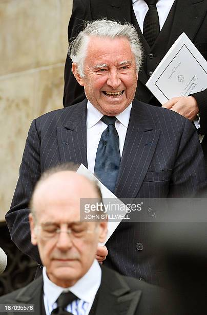 Former Liberal politician David Steel leaves after attending the ceremonial funeral of British former prime minister Margaret Thatcher at St Paul's...