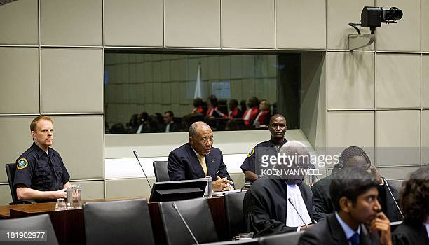 Former Liberian President Charles Taylor waits for the start of his appeal judgement on September 26 2013 in the courtroom of the Special Court for...