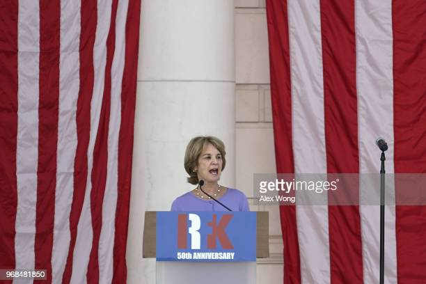 Former Lieutenant Governor of Maryland Kathleen Kennedy Townsend speaks during the memorial service of her father Robert Kennedy to mark the 5oth...