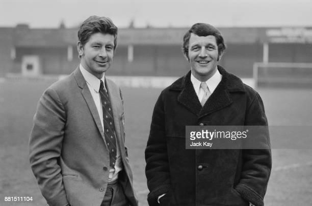 Former Lincoln City FC manager Bert Loxley with his successor, former football player David Herd , UK, 6th March 1971.