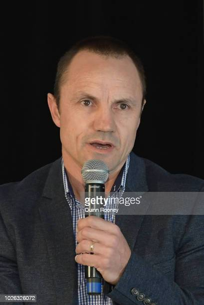 Former lions player and Norm Smith Medal presenter Shaun Hart speaks to the media during the 2018 Toyota AFL Finals Series Launch at Toyota CHQ Port...