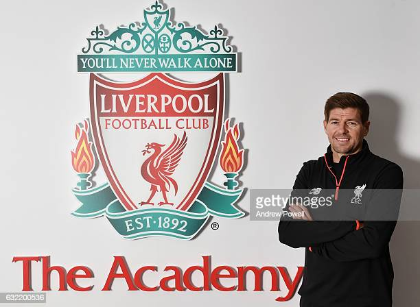 Former Liverpool Captain Steven Gerrard at The Academy on January 20 2017 in Liverpool England Steven Gerrard has today been announced as a coach in...