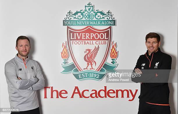 Former Liverpool Captain Steven Gerrard with Alex Inglethorpe Academy Director at The Academy on January 20 2017 in Liverpool England Steven Gerrard...