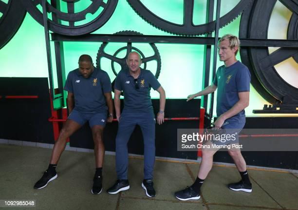 Former Liverpool FC players John Barnes Gary McAllister and Sami Hyypia ride Peak Tram to The Peak 21JUL17 SCMP / Dickson Lee
