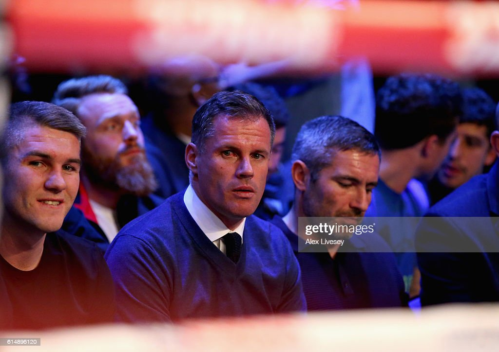 Former Liverpool football player Jamie Carragher sits ringside before the WBC Cruiserweight match between Tony Bellew of England and BJ Flores of USA during Boxing at Echo Arena on October 15, 2016 in Liverpool, England.