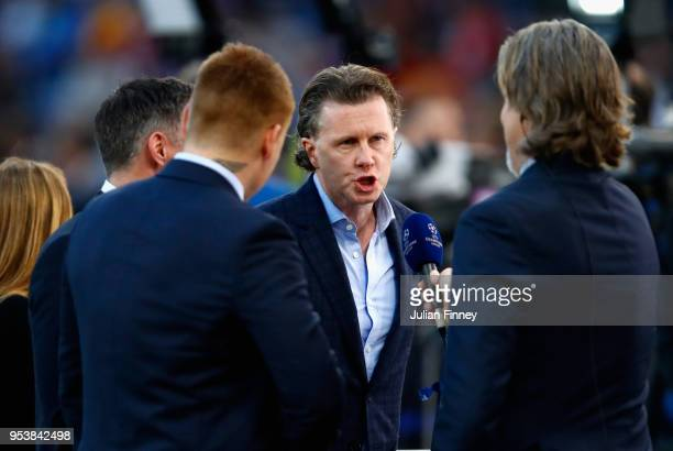 Former Liverpool player and BT Sport pundit Steve McManaman speaks during the UEFA Champions League Semi Final Second Leg match between AS Roma and...