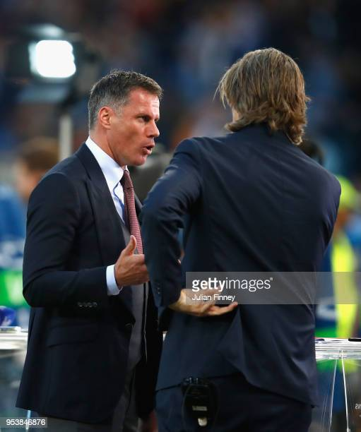 Former Liverpool player Jamie Carragher is interviewed during the UEFA Champions League Semi Final Second Leg match between AS Roma and Liverpool at...